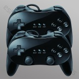 Two Non-OEM Classic Controller Pro (Black) for Nintendo Wii