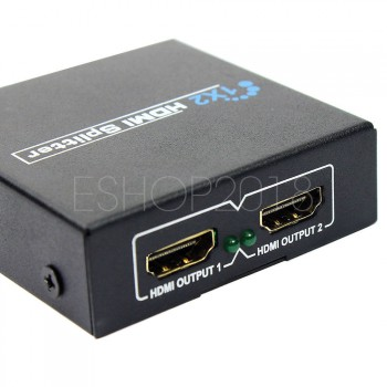 1x2 Port HDMI 1080p Splitter Hub Amplifier Repeater for Cable Box HDTV DVR HDCP