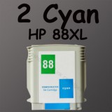 2 cyan ink 88XL 88 HP88 For HP K550 L7500 L7600 L7780